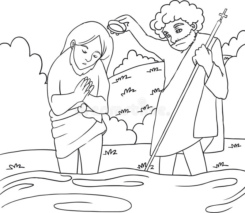 Jesus Baptism - B/W lineart. John give baptism to Jesus to the Jordan river. Drawing to color for childrens royalty free illustration