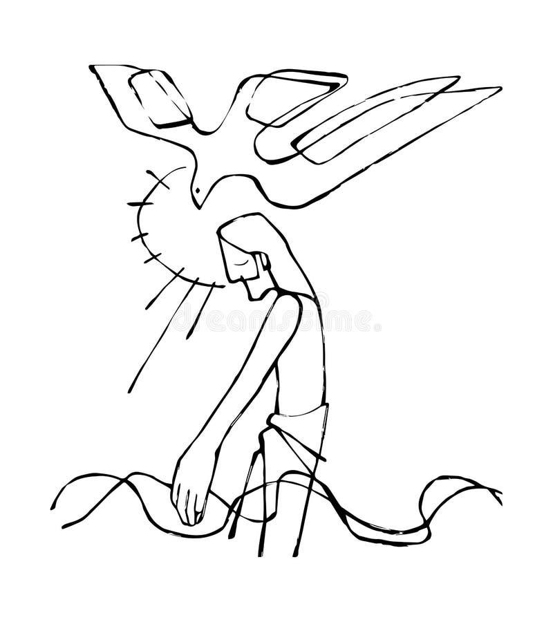 Jesus Baptism. Hand drawn vector illustration or drawing of Jesus Christ at His Baptism vector illustration