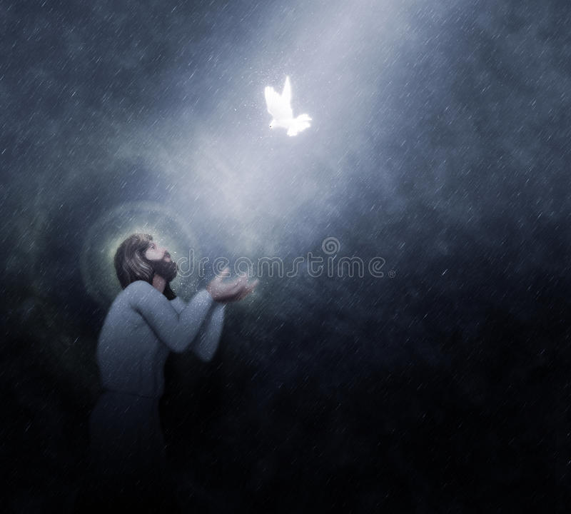 Jesus Baptism by the Heavens Rain Illustration. Baptism at night. Jesus receiving a white dove descending from the heaven. Thanks for visiting, you're welcome to stock illustration