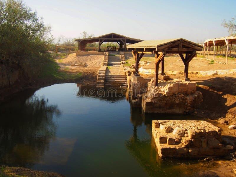 Jesus Baptism Site på Bethany Beyond Jordanien arkivbilder