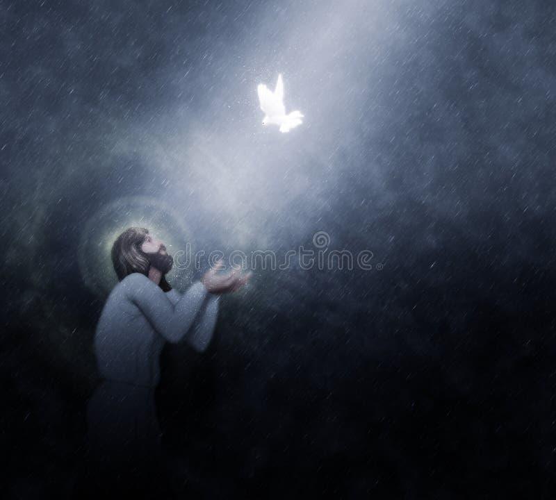 Jesus Baptism tramite l'illustrazione della pioggia di cieli illustrazione di stock