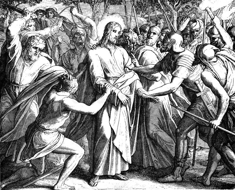 Jesus' Betrayal. 1) Sacred-biblical history of the old and New Testament. two Hundred and forty images Ed. 3. St. Petersburg, 2) 1873. 3) Russia 4) Julius royalty free stock image