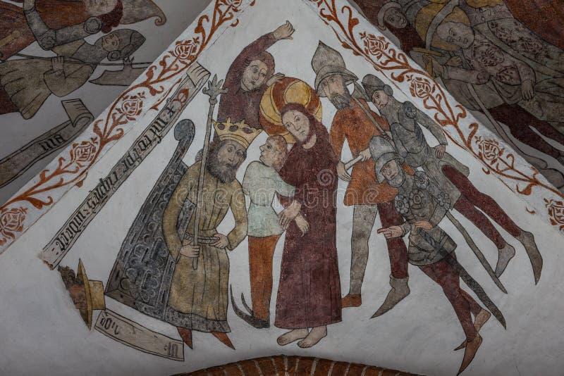 Jesus bij het hof van Herod, een middeleeuwse fresko stock afbeeldingen