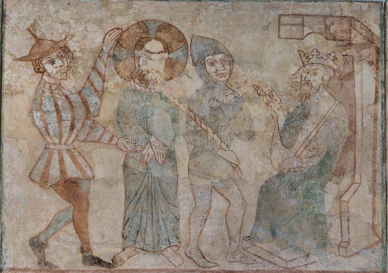 Jesus bij het hof van Herod Hij wordt beschuldigd voor de koning royalty-vrije stock afbeelding