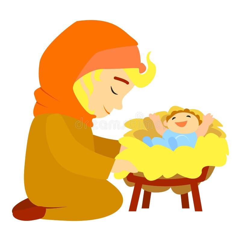 Jesus birth icon, cartoon style royalty free illustration