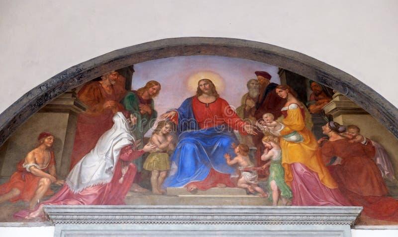 Jesus Blesses les enfants photographie stock