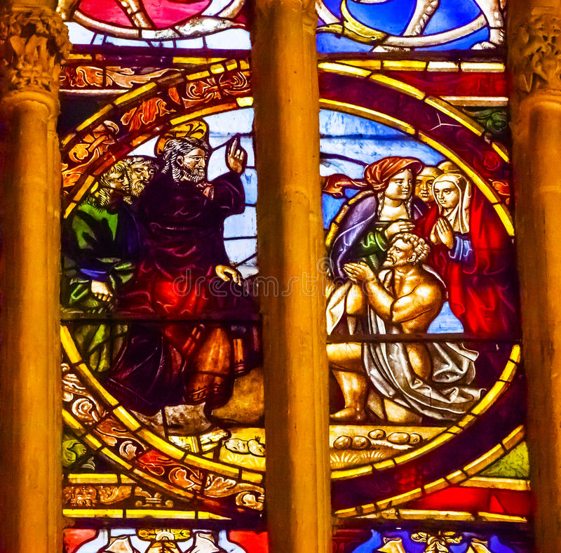 Jesus Blessing Stained Glass Cathedral Toledo Spain immagine stock
