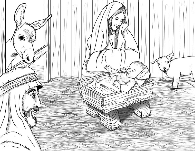 Jesus Born in Trog royalty-vrije illustratie