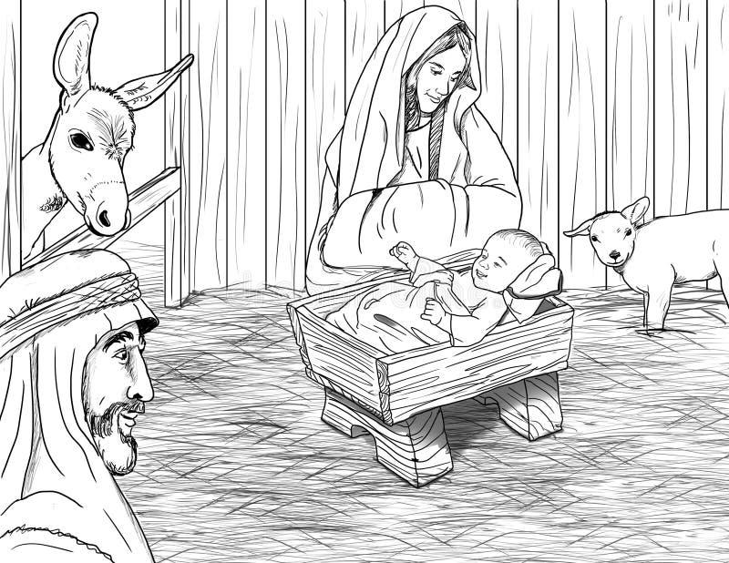 Jesus Born in Trog royalty-vrije illustratie