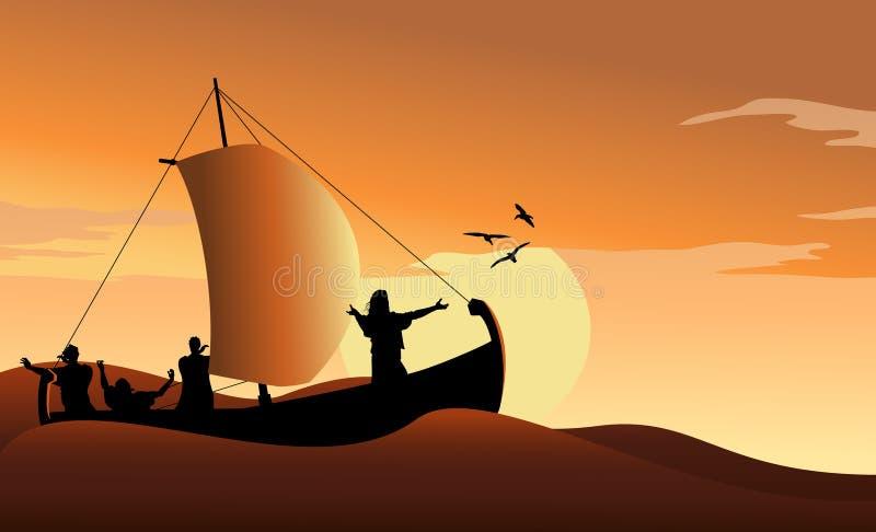 Jesus Calms el mar ilustración del vector