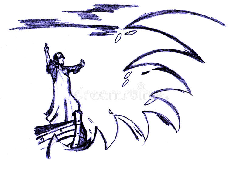 Jesus calms the storm vector illustration