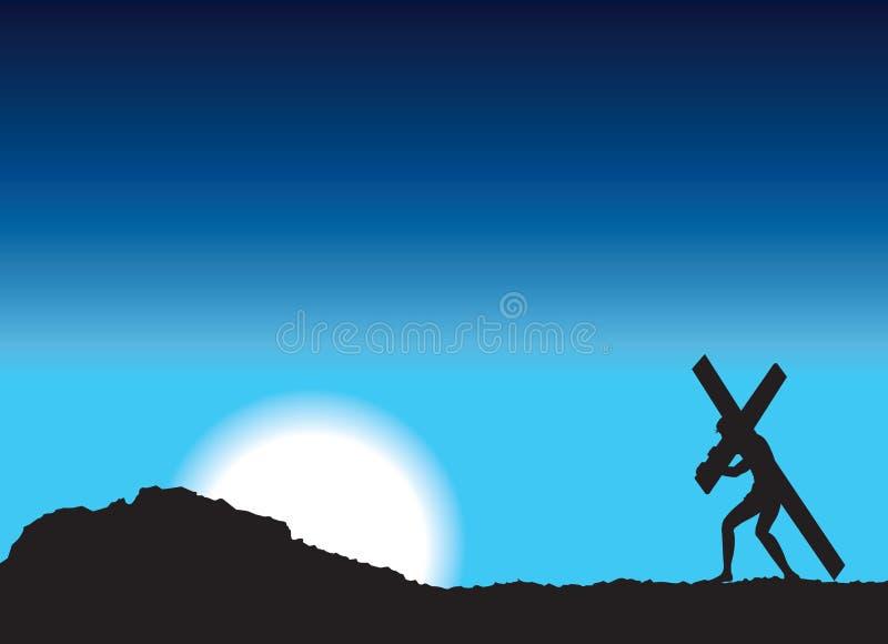 Jesus carreg a cruz ilustração do vetor