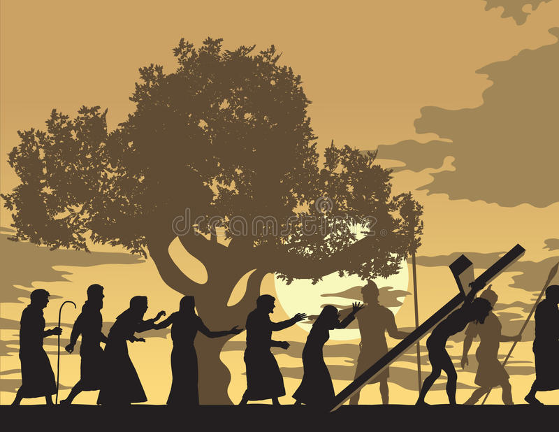 Jesus Carries His Cross royaltyfri illustrationer