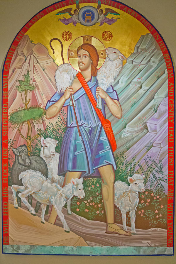 Jesus Carries Lamb immagine stock