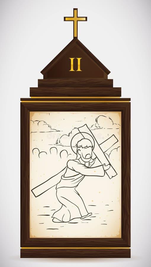 Jesus Carries sua cruz, ilustração do vetor ilustração royalty free