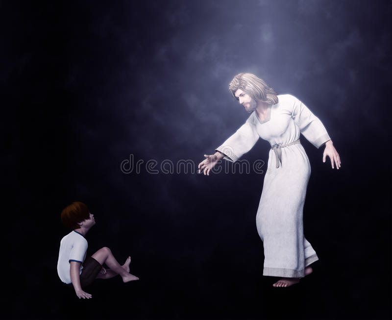Jesus with a Child Illustration. Jesus giving his hand to a child stock image