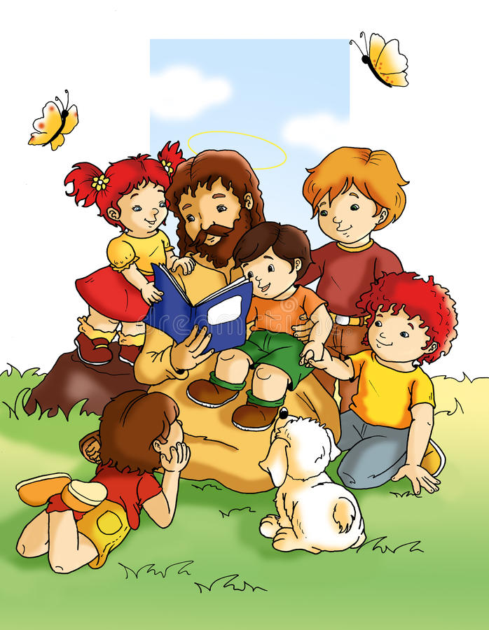 Jesus and children. Colored digital illustration with photoshop. Jesus from the correct teachings to children to help them to grow in the correct way
