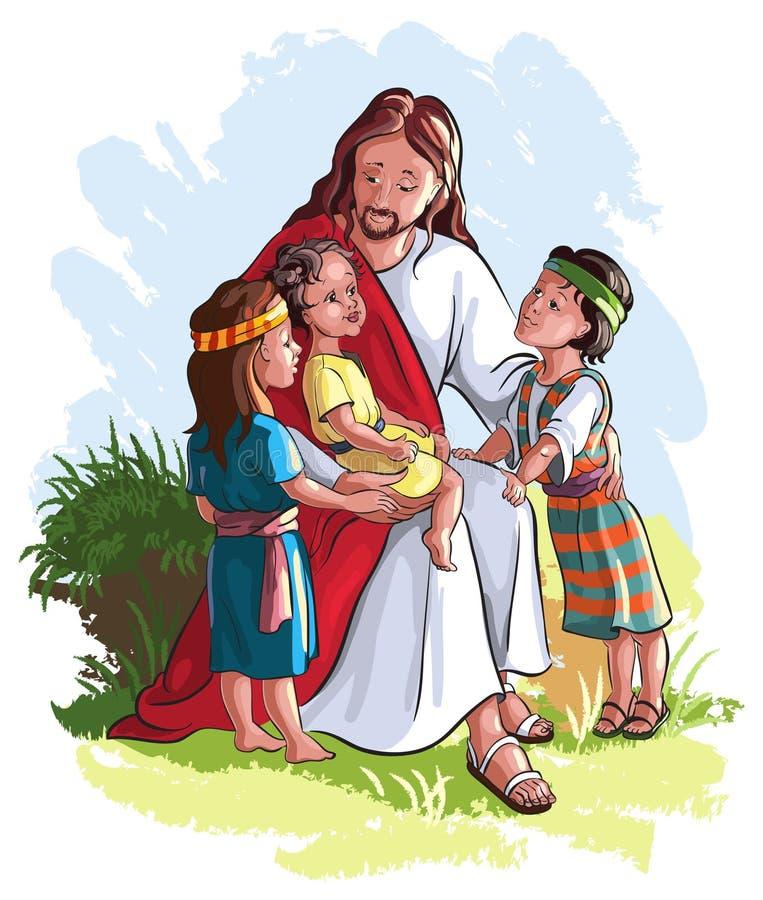 Jesus with children royalty free illustration