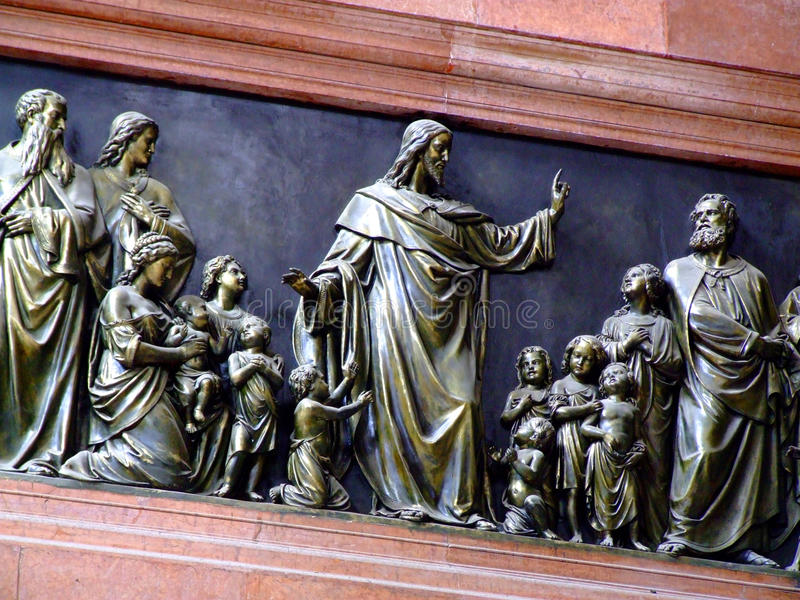 Jesus with Children Bronze Relief royalty free stock photos