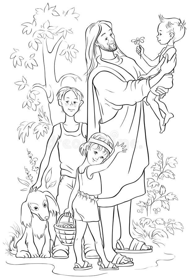 jesus with children coloring page stock vector illustration of
