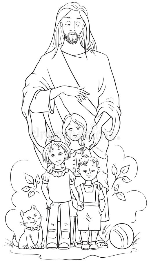 download jesus with children coloring page stock vector illustration of coloring contour