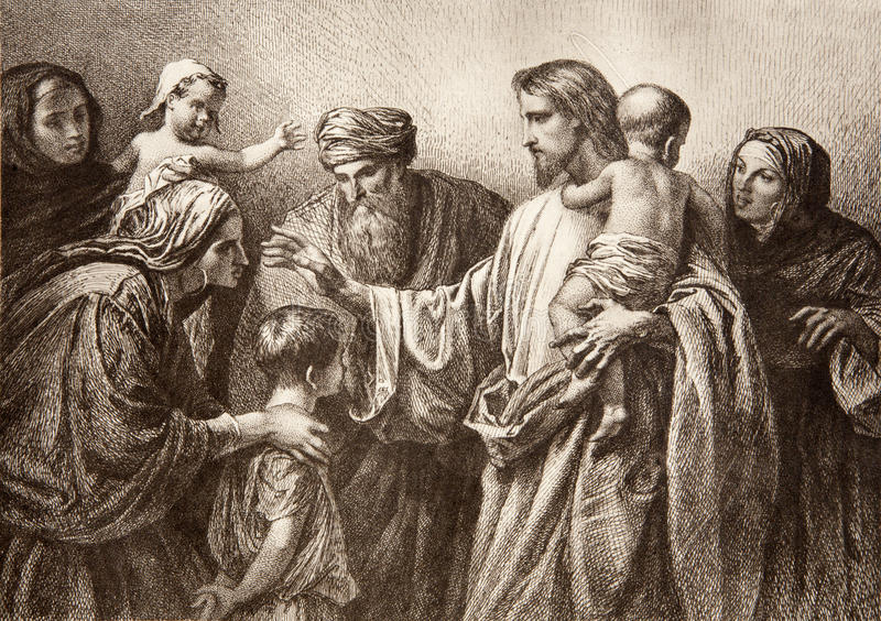 Jesus and children engraving stock photo image of - Child jesus images download ...