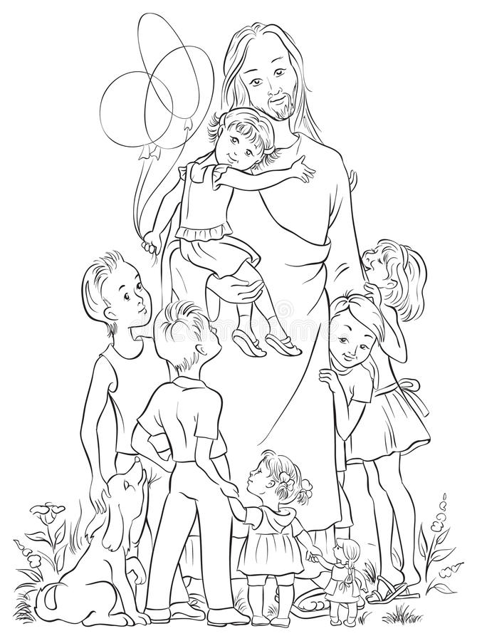 Jesus With Children Outlined Stock