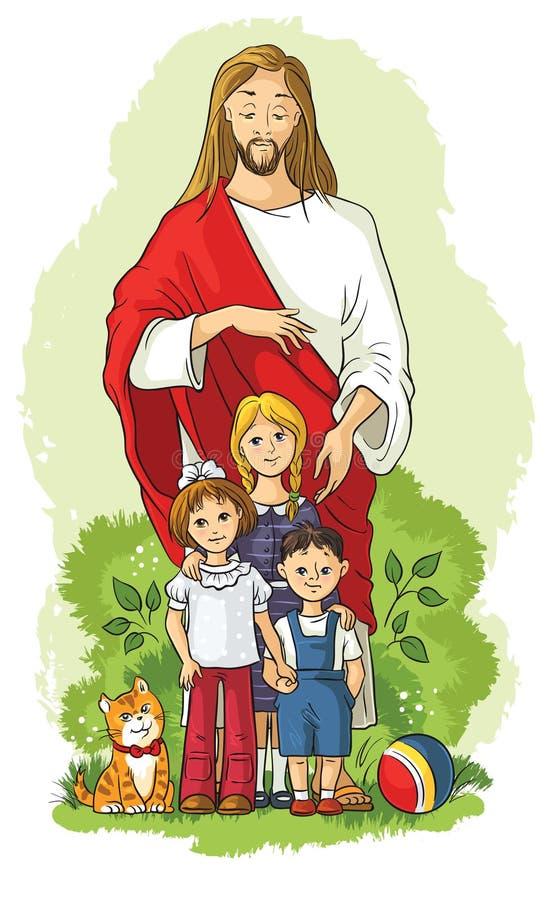 Jesus with children stock illustration