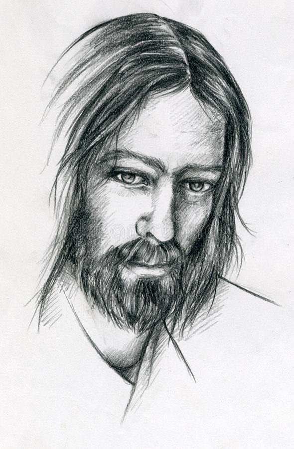 Jesus Christ. A pencil portrait of Jesus Christ