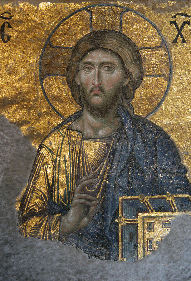 Jesus Christ. A Byzantine mosaic in the interior of Hagia Sophia in Istanbul, Turkey
