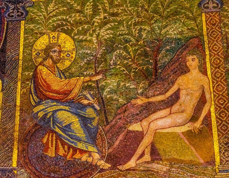Jesus Christ Adam Mosaic Dome Bapistry Heilige John Florence Italy royalty-vrije stock foto's