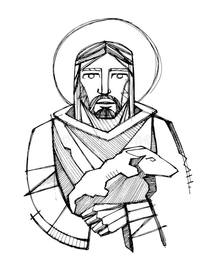 Jesus Christ as Good Shepherd carrying a sheep. Hand drawn vector illustration or drawing of Jesus Christ as Good Shepherd carrying a sheep stock illustration