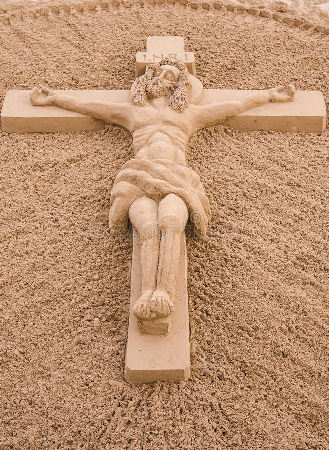 Jesus Christ auf der Quersand-Skulptur. stockbild