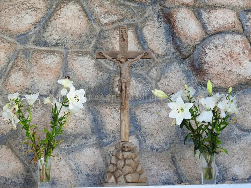 Jesus Christ auf Kreuz, Litauen stockbilder