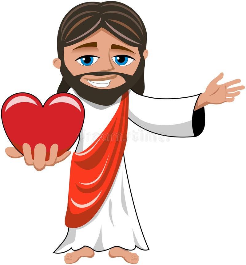Jesus Christ Big Heart Love a isolé illustration libre de droits