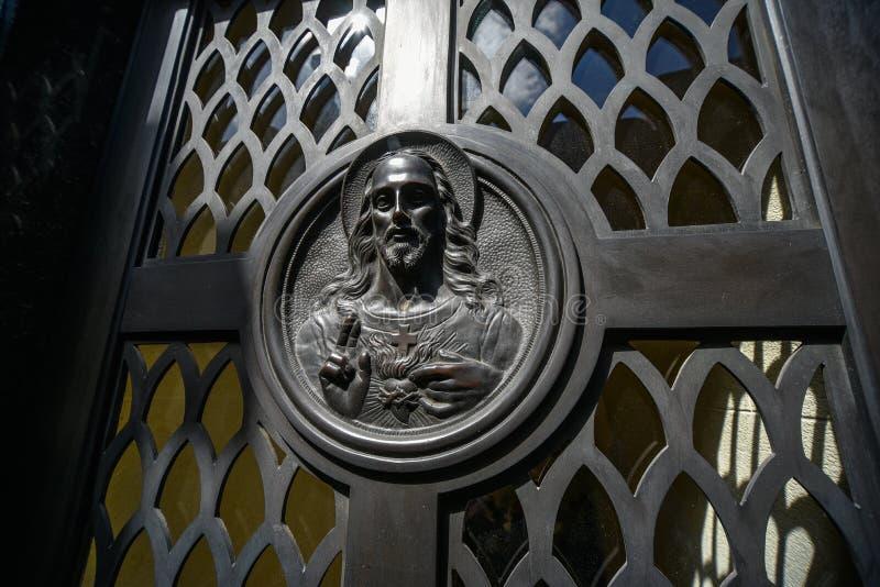 Jesus Christ-Bild auf einem Grab lizenzfreie stockfotografie