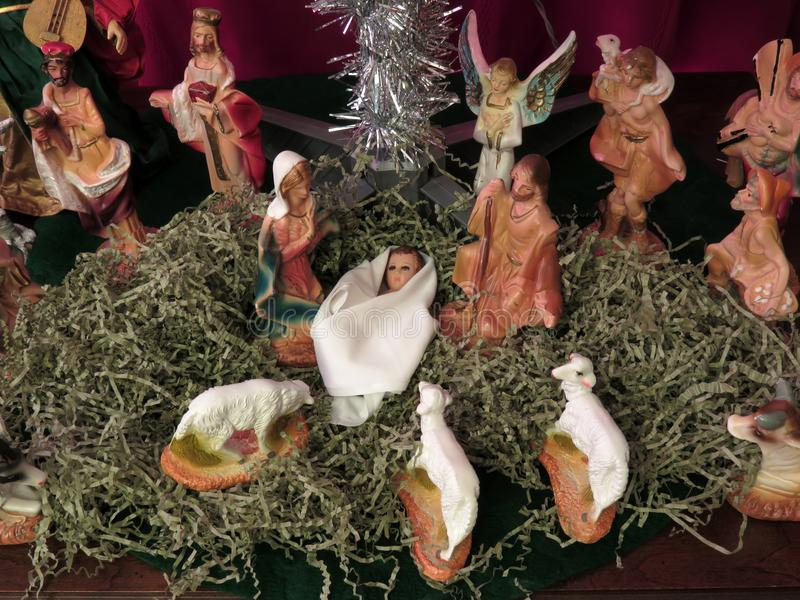 Jesus Christ Born in Manger fotografie stock