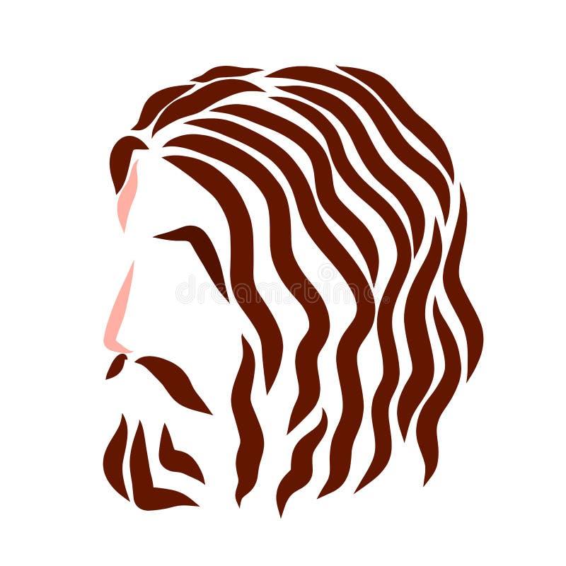 Jesus Christ, cabeza, pelo ondulado, modelo colorido libre illustration