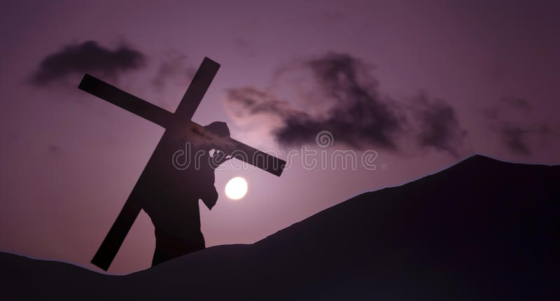 Jesus Christ Carrying Cross up Calvary on Good Friday stock image