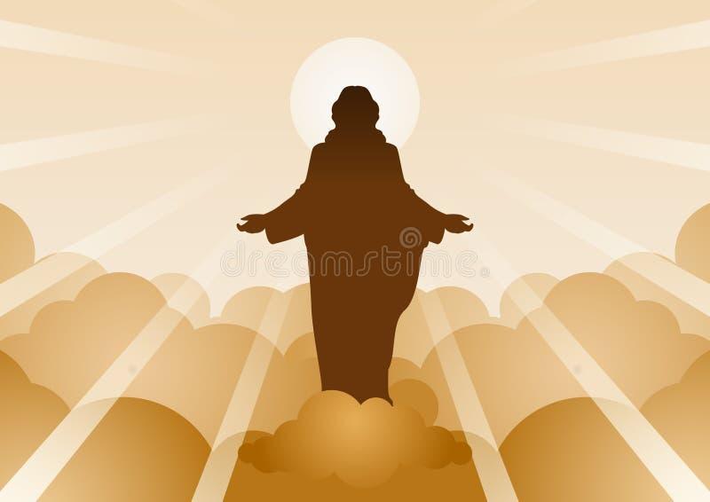 Jesus Christ com luz e nuvem para trás para significar começar da esperança, da opinião e da fé ilustração do vetor