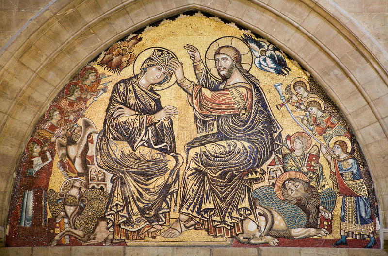Jesus Christ and coronation of holy mary - Florenc stock images