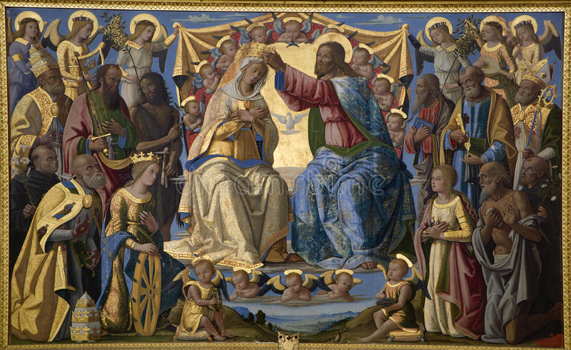 Jesus Christ and coronation of holy mary - Siena. Jesus Christ and coronation of holy mary - paint from Siena church Sata Maria dei Servi royalty free stock photos