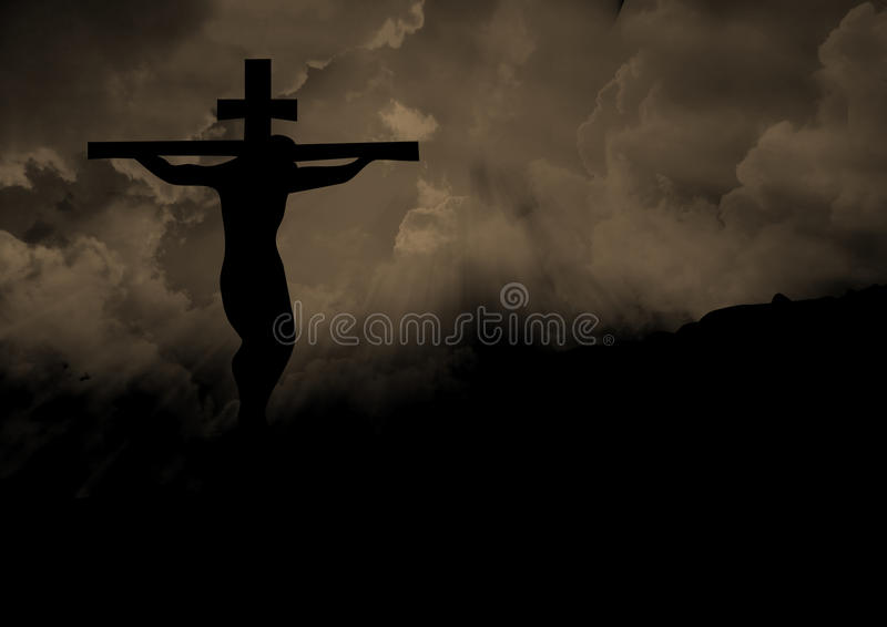 Jesus Christ on a Cross. Christ on the cross at Calvary royalty free stock images