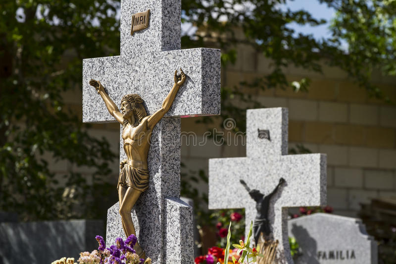 Download Jesus Christ On The Cross In A Cemetery Stock Photo - Image: 39401541