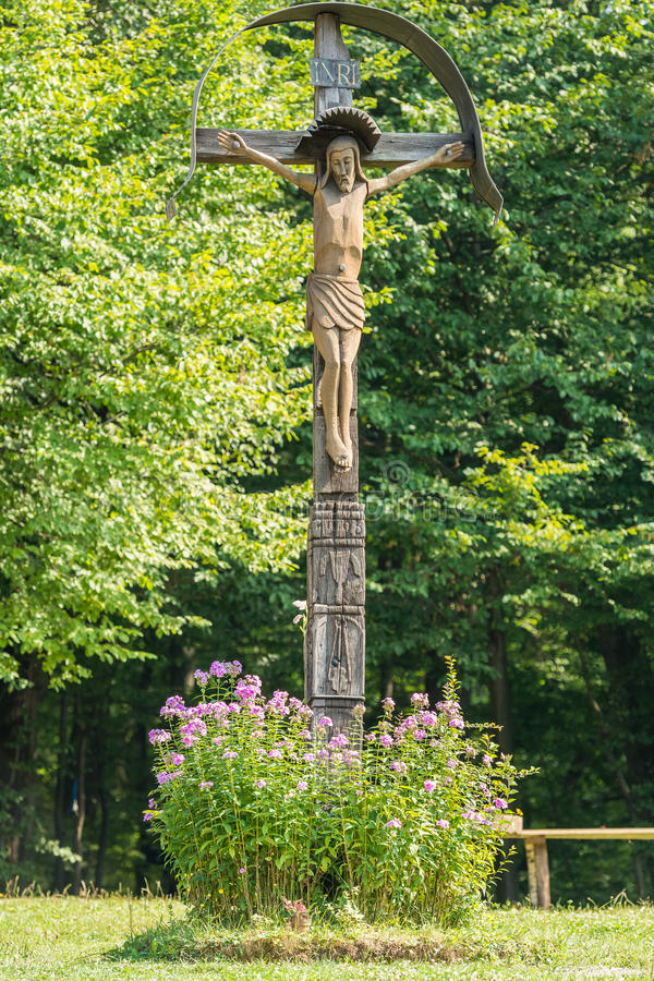 Jesus Christ On Cross. Jesus Christ On Christian Wooden Cross stock images