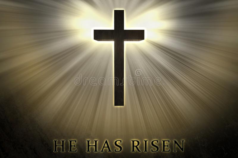 Jesus Christ cross elevated, raised up, shrouded by light and glow and He has risen text written on a stone background. vector illustration