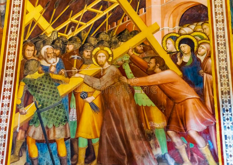 Jesus Christ Cross Medieval Fresco-Kerk San Gimignano Toscanië stock foto's