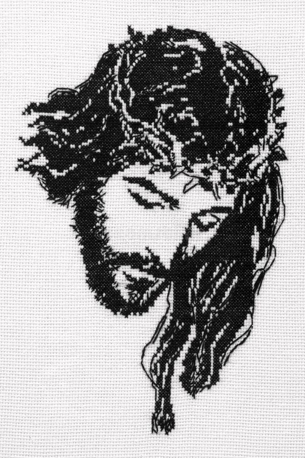 Jesus Christ cross stitch royalty free stock photography