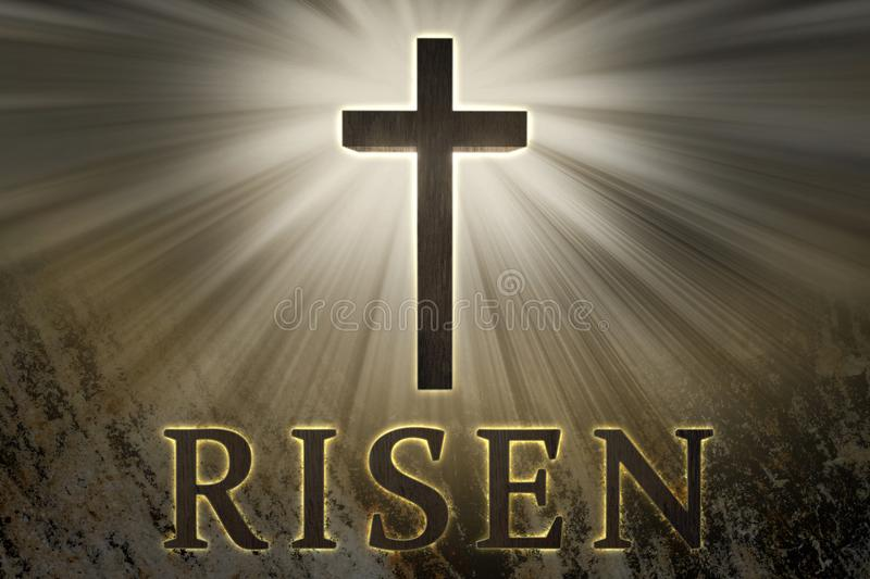 Jesus Christ cross surrounded by light and risen text on a rock background for Easter royalty free stock photography