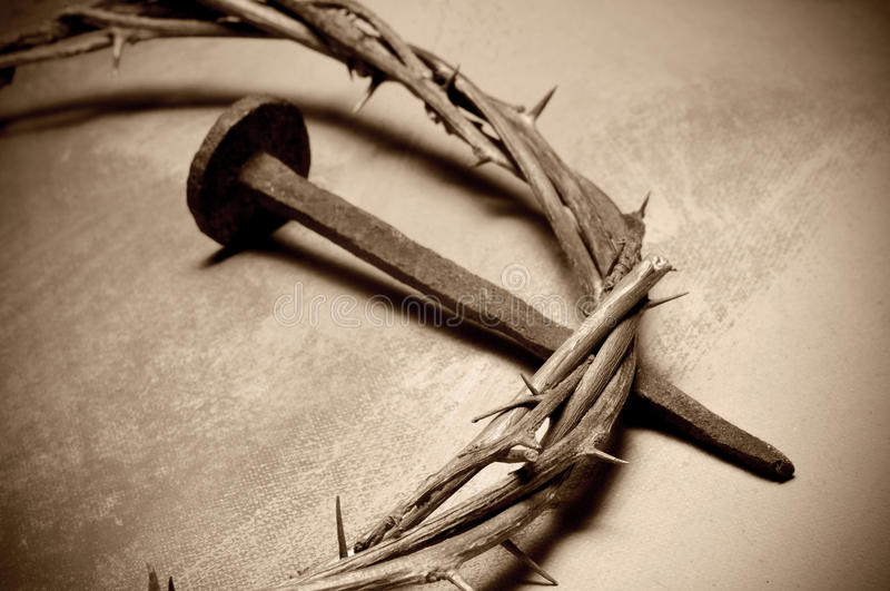 Jesus Christ crown of thorns and nail stock photos